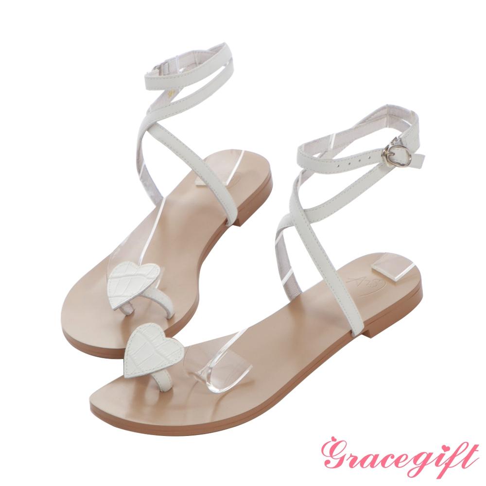 Grace gift X Angelina-聯名全真皮愛心套趾平底涼鞋 白