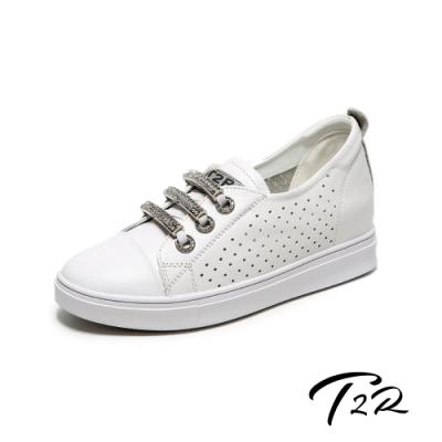 T2R-正韓空運-透氣洞洞水鑽真皮帆布鞋小白鞋隱形增高鞋-增高6公分-白