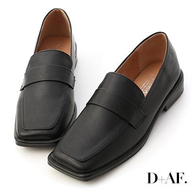 D+AF 復古年代.雙層設計方頭樂福鞋*黑