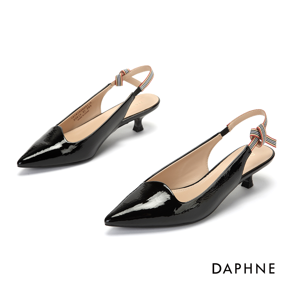 達芙妮DAPHNE 跟鞋-撞色條紋繫帶縷空尖頭跟鞋-黑
