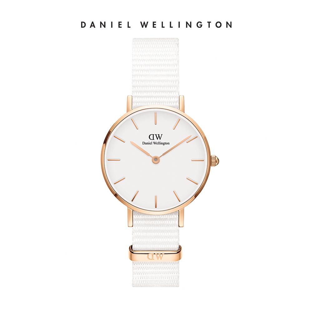 【李聖經配戴款】DW 手錶 官方旗艦店 28mm玫瑰金框 Petite 純淨白織紋手錶