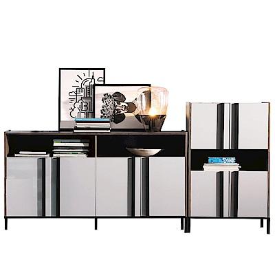品家居 費肯7.7尺木紋雙色餐櫃組合-230x40x114cm免組