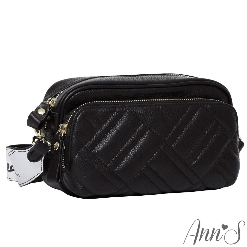 Ann'S實用至上-訂製寬背帶全真皮相機包-黑