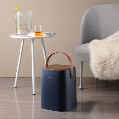 荷生活 北歐風手提皮帶雙層雙隔垃圾桶