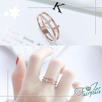 iSFairytale伊飾童話 雙層十字架 碎鑽玫瑰金鈦鋼戒指 尺寸可選
