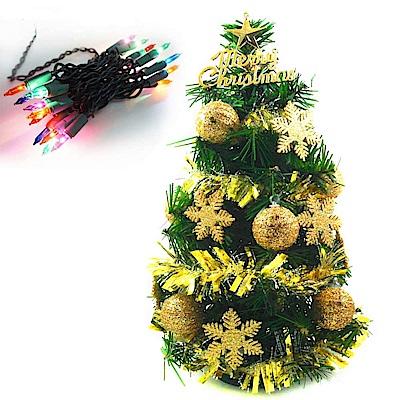摩達客 迷你1尺(30cm)綠色聖誕樹(金球雪花系)+20燈鎢絲樹燈串