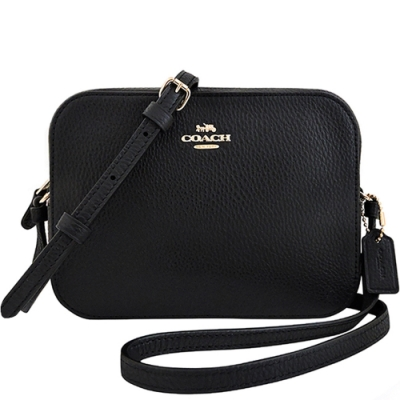 COACH-黑色荔枝紋皮革方形斜背相機包
