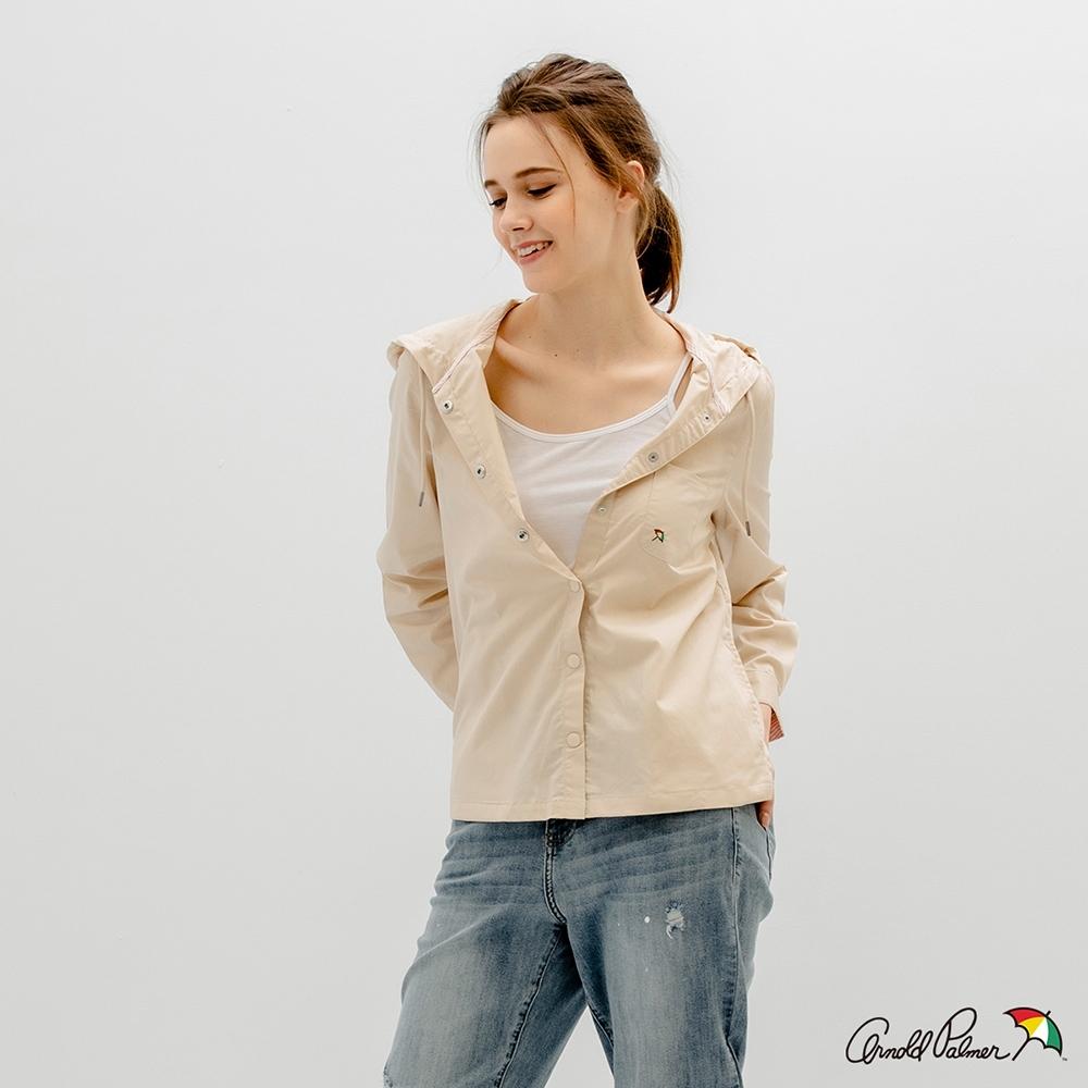 Arnold Palmer -女裝-素面連帽風衣襯衫外套-米色