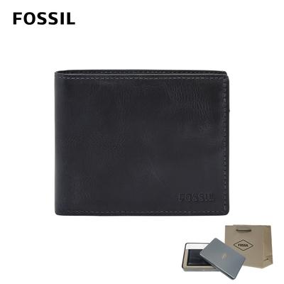 FOSSIL DERRICK 真皮證件格零錢袋RFID男夾-海軍藍 ML3687406