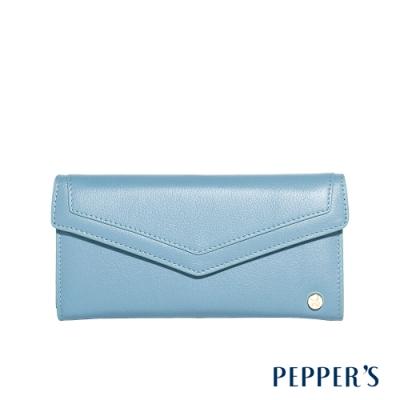PEPPER'S Doris 牛皮掀蓋長夾 - 天空藍