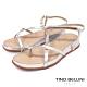 Tino Bellini 巴西進口細帶線條小坡跟夾腳涼鞋-銀 product thumbnail 1