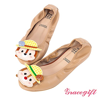 Disney collection by grace gift-全真皮摺疊娃娃鞋 杏