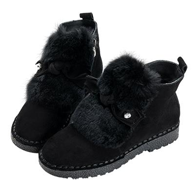 Robinlo 甜美蝴蝶結麂皮刷毛短靴 黑