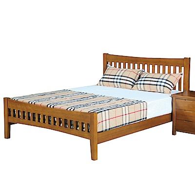 文創集 喬治時尚5尺實木雙人床架(不含床墊)-154x200x100cm免組