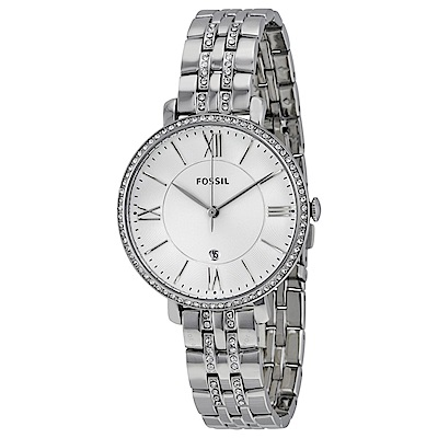 FOSSIL 羅馬字時標水鑽腕錶(ES 3545 )-白/ 36 mm
