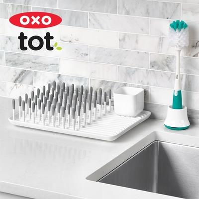 美國OXO tot 瓶罐清潔兩用刷(附底座)-靚藍綠