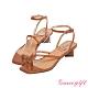 Grace gift X Kerina-聯名不對稱條帶低跟涼鞋 壓紋咖 product thumbnail 1