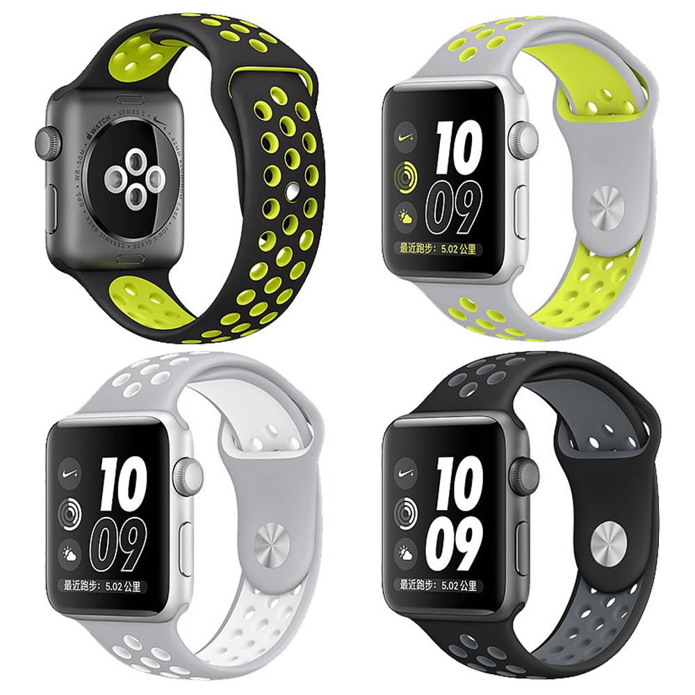Apple Watch 1/2/3/4 雙色款硅膠運動型錶帶