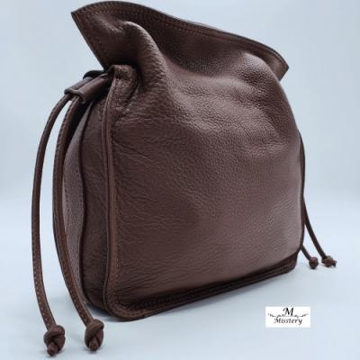 【Misstery】側背包/肩背包進口牛皮搭配超纖女用側背包-棕
