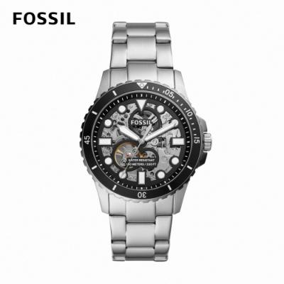 【FOSSIL】FB -01 三眼鏤空機械男錶 銀色不鏽鋼錶帶 42MM ME3190