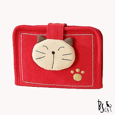ABS貝斯貓 可愛拼布貓頭 萬用證件夾 卡夾 88-012