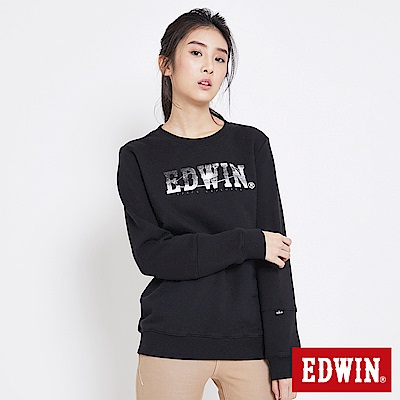 EDWIN 太空競賽太空銀河LOGO厚長袖T恤-女-黑色