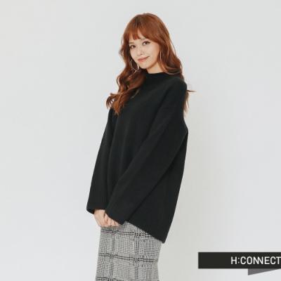 H:CONNECT 韓國品牌 女裝 - 開岔設計高領針織上衣-黑(快)