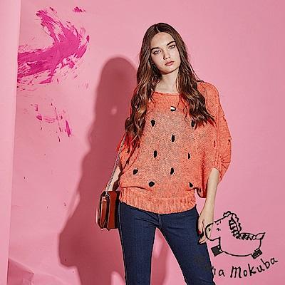 Hana+花木馬 微性感透視簍空洞洞連袖微寬斗篷造型粗針織上衣-橘(共2色)