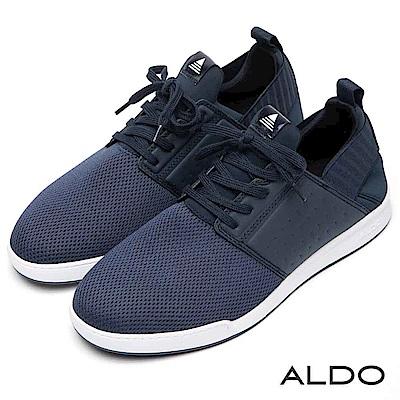 ALDO 原色針織拼接寬版網眼綁帶式彈性休閒男鞋~海軍藍色