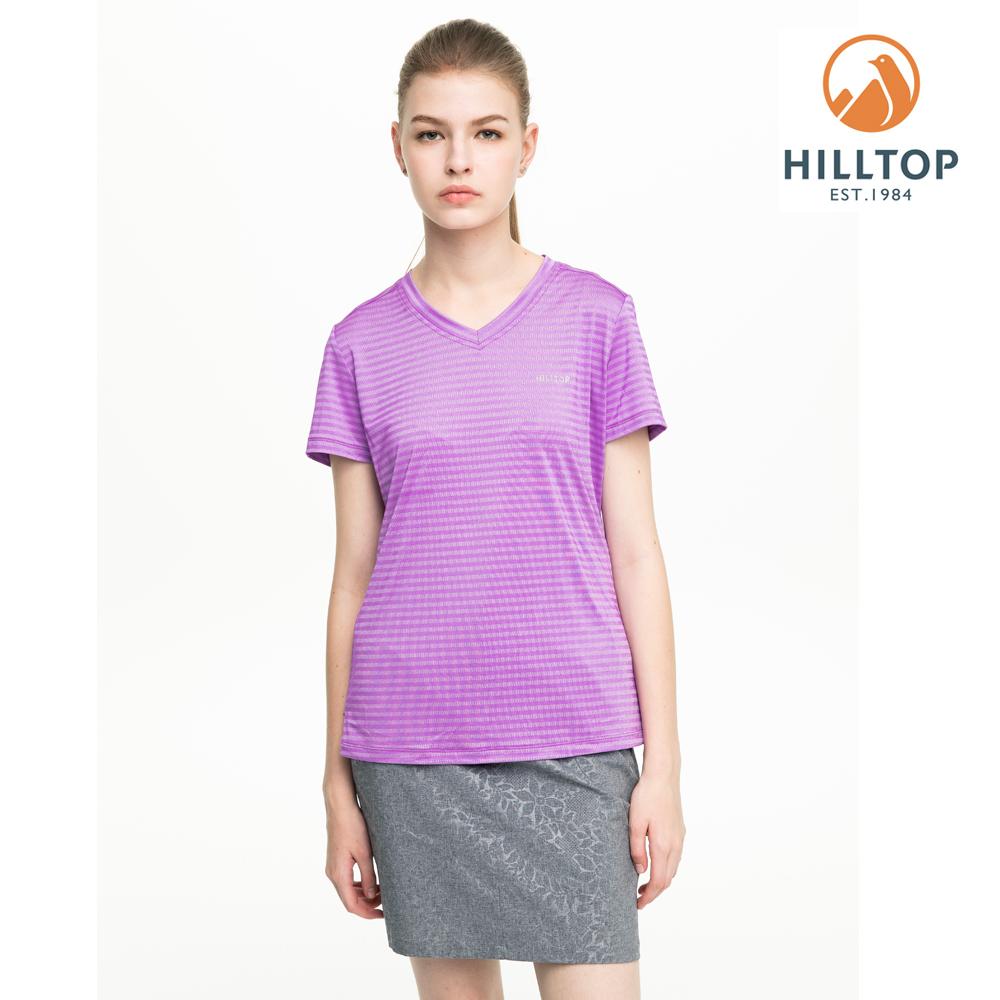 【hilltop山頂鳥】女款吸濕快乾抗UV彈性抗菌條紋T恤S04FH7紫丁香