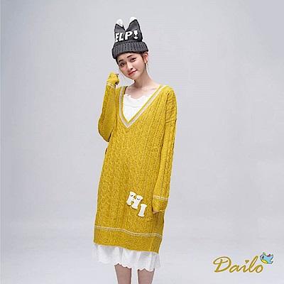 Dailo HI學院風V領長版-針織衫