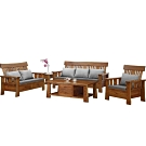 MUNA 大阪1+2+3實木組椅(含大小茶几)(貓抓皮坐墊) 198X79X100cm