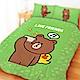 享夢城堡 單人冬夏兩用被套4.5x6.5-LINE FRIENDS 熊大愛自拍-灰.綠