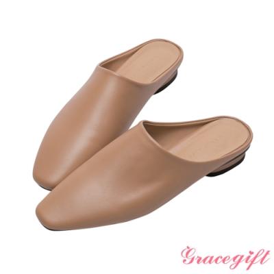 Grace gift-ETUDE leather shop-質感圓低跟穆勒鞋 駝