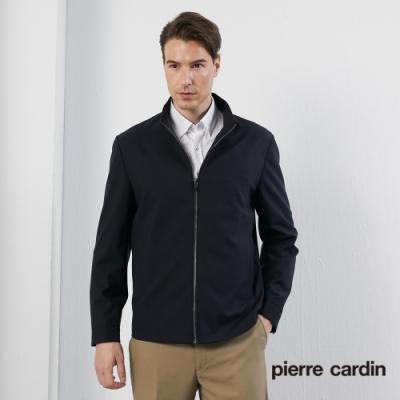 Pierre Cardin皮爾卡登 男裝 進口蠶絲毛料面料立領薄夾克外套-丈青色(5195601-39)