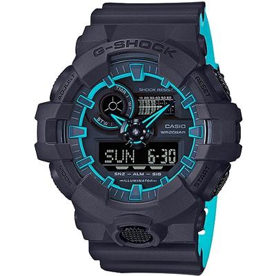 G-SHOCK 亮彩螢光雙顯腕錶-黑X藍(GA-700SE-1A2)/53mm