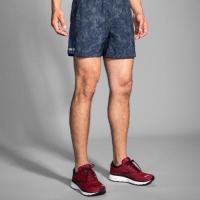 BROOKS 男 SHERPA雪巴 5吋慢跑短褲 藍礦石紋(211137477)