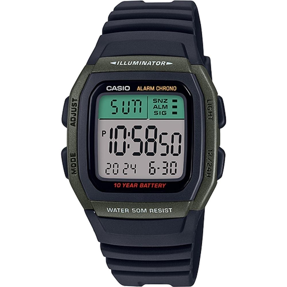 CASIO 城市個性休閒電子錶-綠框(W-96H-3A)/22*24mm