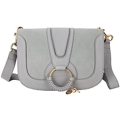 SEE BY CHLOE HANA 中款編織金屬圈拼接麂皮手拿/肩背包(灰色)