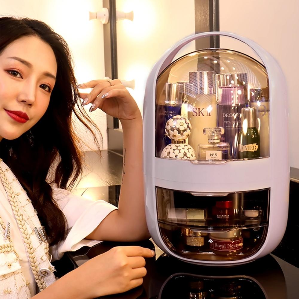 【Mr.box】網红太空膠囊雙開式化妝收纳盒-圓款