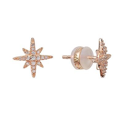 apm MONACO法國精品珠寶 閃耀玫瑰金繁星鑲鋯耳針式耳環