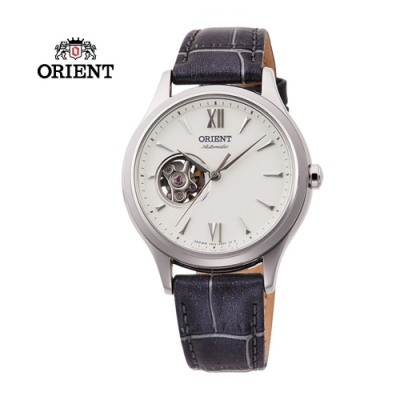 ORIENT 東方錶ELEGANT系列 優雅小鏤空機械錶 皮帶款 銀色RA-AG0025S-36mm