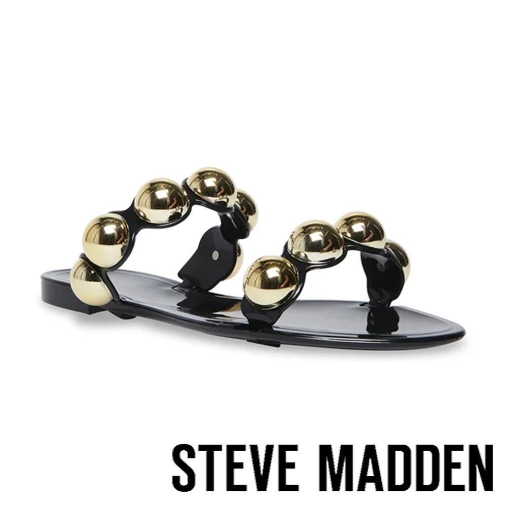 STEVE MADDEN-CHRISHELLE 珠寶雙帶平底涼拖鞋-黑色
