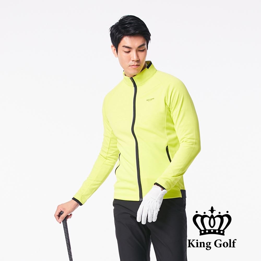 【KING GOLF】LOGO印圖防風防水拉鍊撞色長袖夾克外套-黃綠