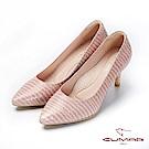 【CUMAR】文藝羅浮宮- 特殊皮革壓紋簡約高跟鞋-粉