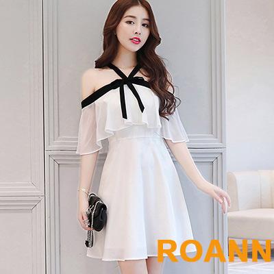 一字領蝴蝶結荷葉袖洋裝 (白色)-ROANN
