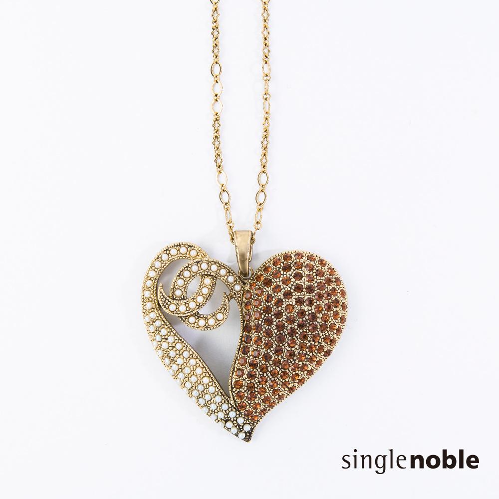 獨身貴族 古典浪漫永恆之心鑽飾項鍊(1色)