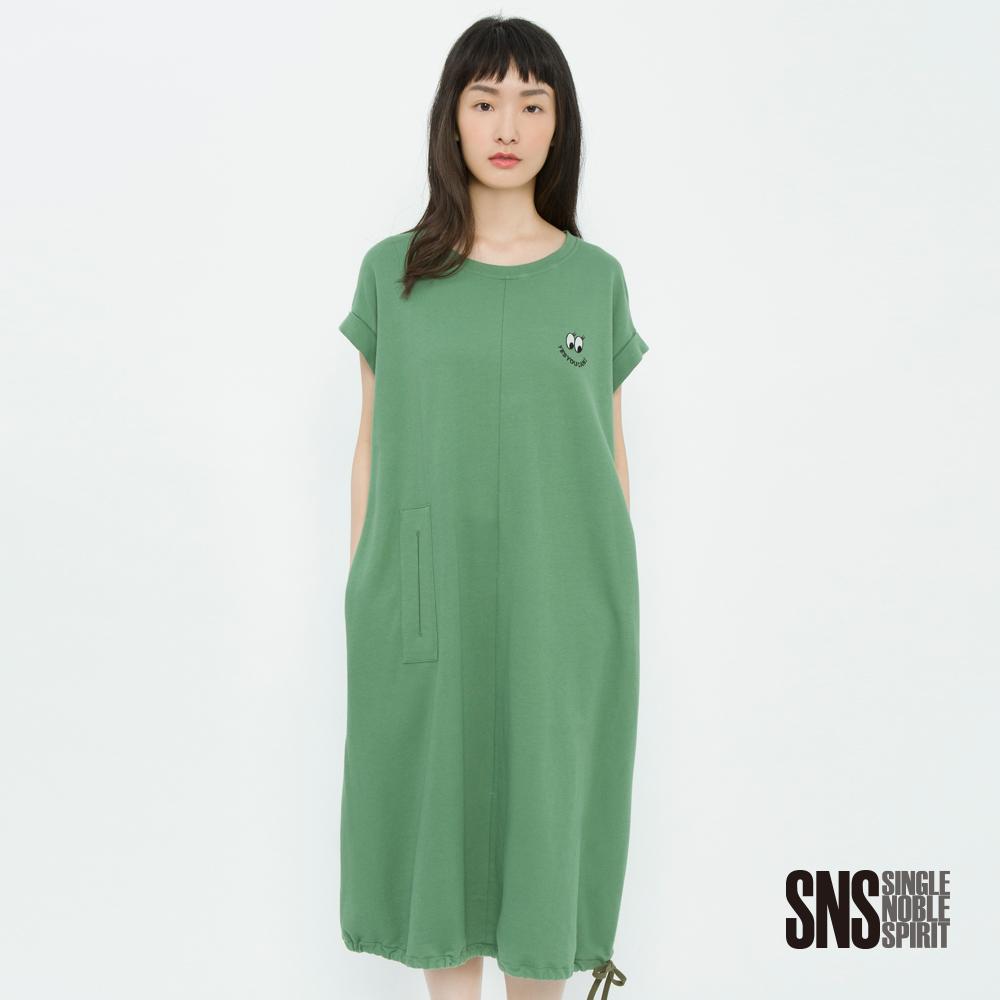 SNS 玩味潮流眨眼圖騰口袋抽繩長洋裝(2色)
