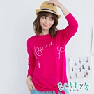 betty's貝蒂思 簡約betty's刺繡下綁結長袖T-shirt(桃紅)