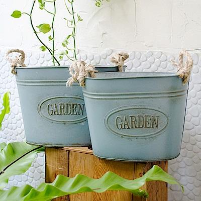 【Meric Garden】歐式仿舊復古雜貨風鐵藝裝飾花器(麻提繩鐵盆M/L二入組)